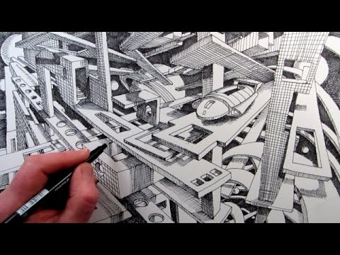 How To Draw A Sci-Fi Fantasy City In 2-Point Perspective