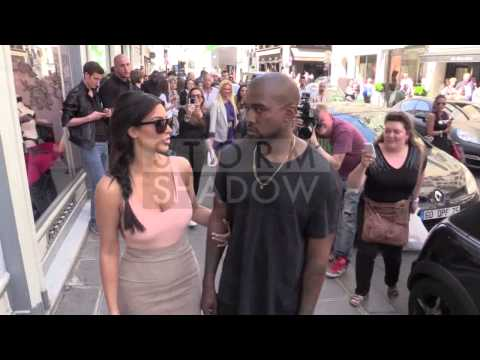 Kim Kardashian and Kanye West at Colette store in Paris