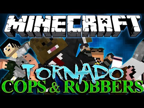 TORNADO GUN!?! Extreme Weather Mod Minecraft Cops and Robbers w/ SkyDoesMinecraft and Friends!