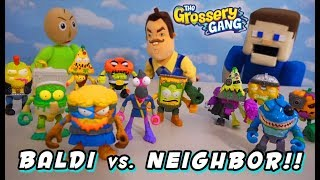 GROSSERY GANG Unboxing Challenge - BALDI vs Hello NEIGHBOR TIME WARS Complete Action Figure SET!