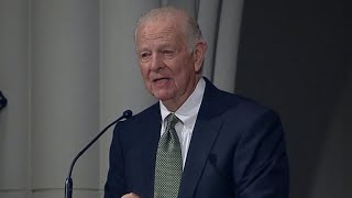 Former Secretary of State James Baker gives eulogy at George H.W. Bush's funeral in Houston