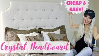 DIY Easy Tufted Headboard Hack For Cheap | $25 Crystal Tufted Bed // Lindsay Ann