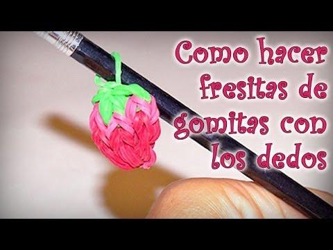 COMO HACER FRESITAS DE GOMITAS CON LOS DEDOS - DIY - STRAWBERRY RAINBOW LOOM