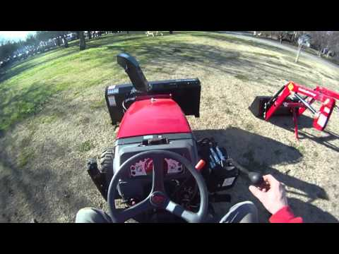 Mahindra Max 25 front mounted snow blower and loader removal and installation