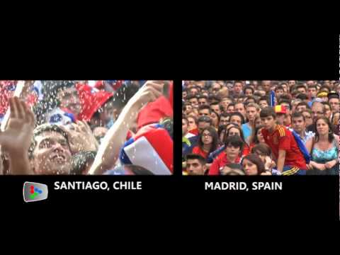 Chile fans celebrate after Spain exit in World Cup