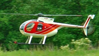 GIANT RC HUGHES-500 SCALE MODEL TURBINE HELICOPTER FLIGHT DEMONSTRATION