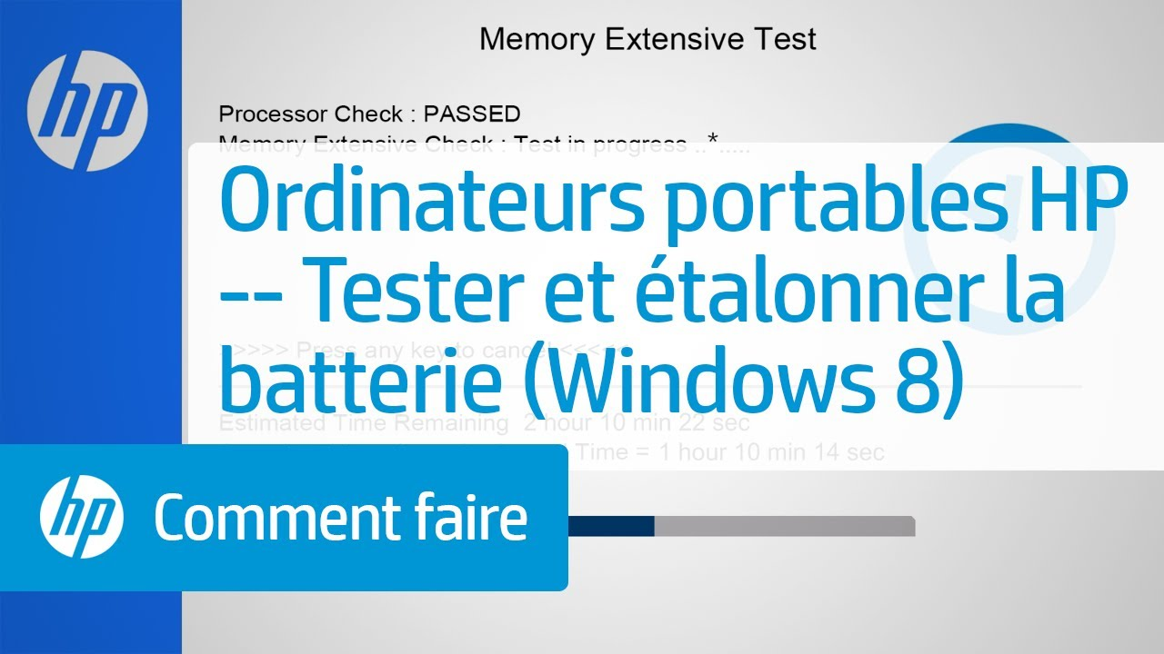 ordinateurs portables hp tester et talonner la batterie windows 8 youtube. Black Bedroom Furniture Sets. Home Design Ideas