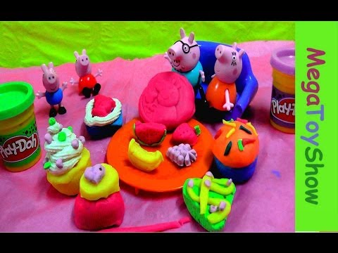 Peppa Pig Dough Cupcake Party Playset ♥ Play-Doh Peppa Pig Frosting cupcakes