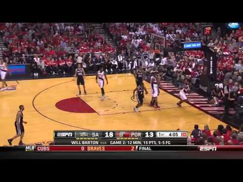 NBA, playoff 2014, Spurs vs. Trail Blazers, Round 2, Game 3, Move 8, Will Barton, save