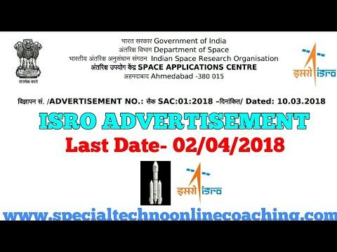 ISRO Recruitment 2018    Special Techno
