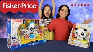 Fisher Price Think & Learn Rocktopus VS Infantino Spin & Slide DJ Panda