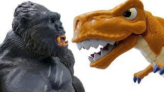 Power Rangers & Marvel Avengers Toys Pretend Play   T-REX vs KING KONG