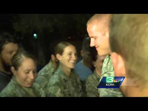 Euro train hero Spencer Stone welcomed home at Travis AFB