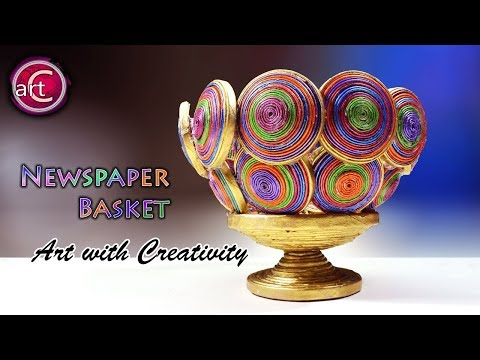 DIY How to Make a Basket from Recycled Newspaper | Handmade Basket | best out of waste | AwC #234