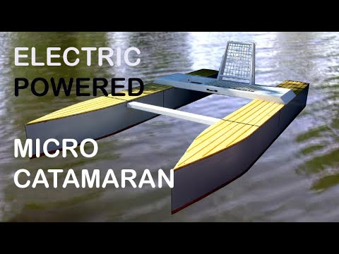 Wooden Micro Catamaran - build (2) and first launch - YouTube
