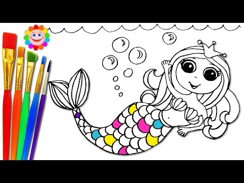 How To Draw Mermaid and Coloring with Markers and Watercolor . Kids Song and Nursery Rhymes for Kids