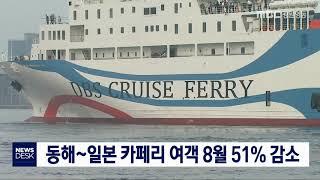 동해~일본 카페리 여객 8월 51% 감소