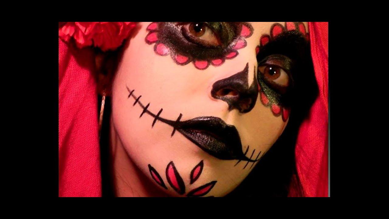 Dia de los muertos maquillaje simple rojo negro blanco youtube - Maquillage dia de los muertos ...
