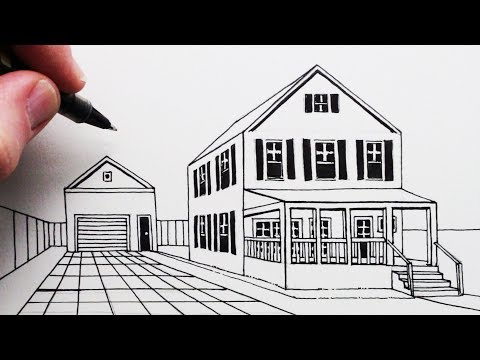 How to Draw a House using One Point Perspective Step by Step