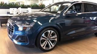 2019 Audi Q8 3.0T quattro in Galaxy Blue walk around