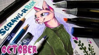 October SCRAWLRBOX + Speed Drawing (Happy Cat!) - GIVEAWAY