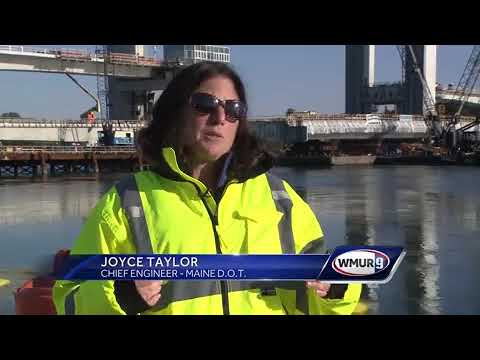 Center span floated into place for new Sarah Long Bridge