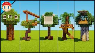 5 Minecraft Tree Houses! - Easy Tutorial (You Can Build Too!)