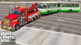 GTA 5 Real Life Mod #153 Kenworth Heavy Duty Tow Truck Wrecker Towing An Articulated Bus
