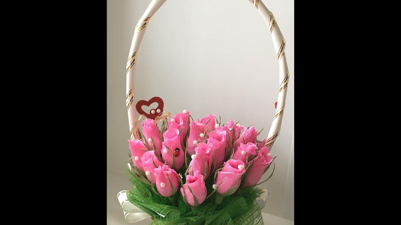 Букеты из конфет розы в корзине своими руками мастер класс 100