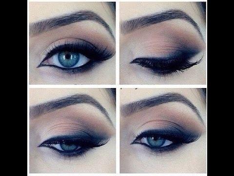 Вечерний макияж для голубых глаз в