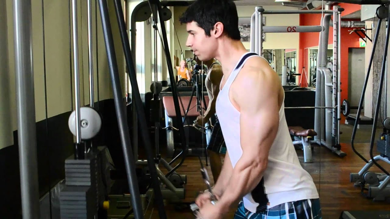 Musculation en club: Triceps Barre Poulie Haute - YouTube
