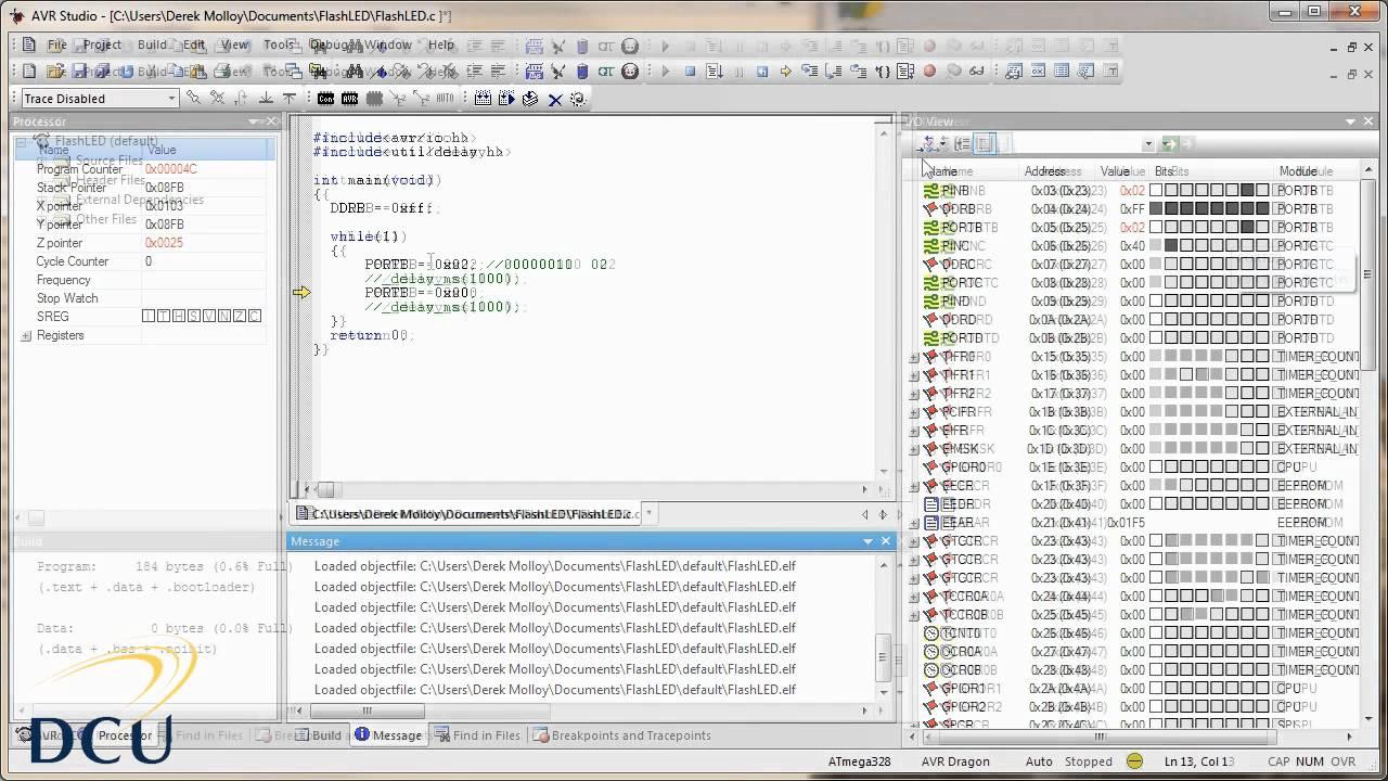 Avr Programming Avr Studio Tutorial Introduction Youtube