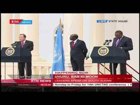 President Uhuru host's UN Secretary General Ban Ki Moon to discuss South Sudan