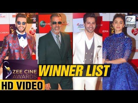 Zee Cine Awards 2018 FULL WINNER'S List | Akshay Kumar | Alia Bhatt | Sridevi | LehrenTV