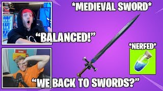 NINJA & Tfue Reacts TO *NEW* 'Medieval Sword' Melee Weapon & NERFED Minis! (Fortnite Moments)