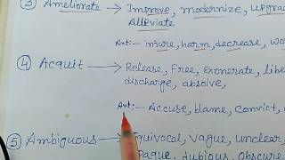 Important synonym and antonyms