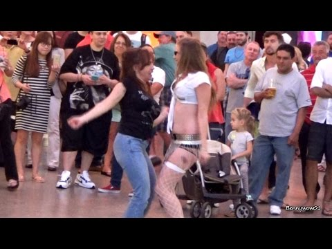 2 Girls Dirty Dancing Together Fremont Street Experience Downtown Las Vegas