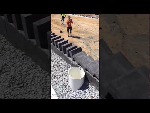 Dominoes with Bricks (Additional Angle) || ViralHog