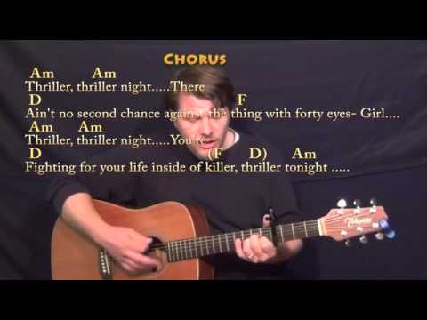 Thriller Michael Jackson Strum Guitar Cover Lesson with Chords - Capo 4th