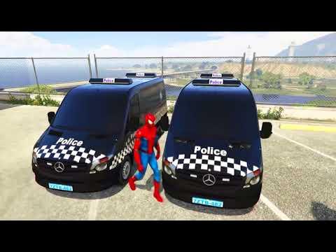Spiderman Disney Cars Lightning McQueen Transport Police Minibus Nursery Rhymes   Cartoon For Kids
