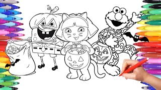 Spongebob Dora and Elmo Halloween Costumes Party Coloring Pages for Kids | Colorful Coloring Video