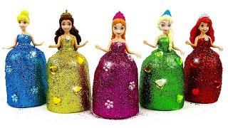 Disney Princess Dresses with Play-Doh Sparkle Magiclip Elsa Anna Ariel Belle & Cinderella