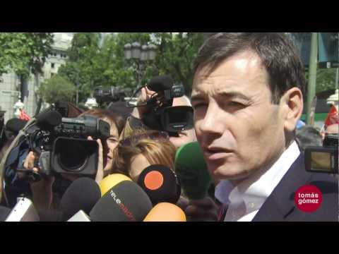 Tomas Gomez en la manifestacion del 1 de Mayo de 2011