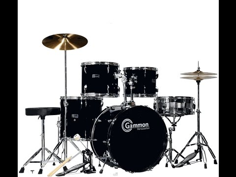 New Gammon Drum Set Black 5 Piece Complete Full Size With