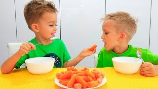 Food Song for kids with Vlad and Nikita