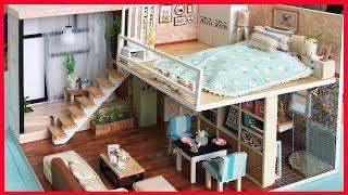 Diy Miniature Dollhouse - NHÀ BÚP BÊ 2 TẦNG PHÒNG NGỦ, BẾP, NHÀ TẮM | Mô hình nhà gỗ (Chim Xinh)