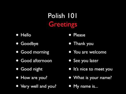 Polish 101 - Greetings - Level One