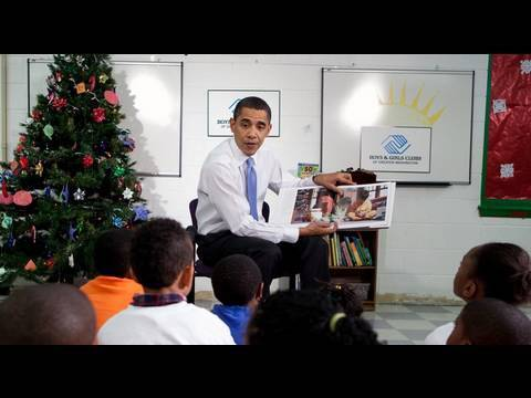 The President Brings Christmas Cheer to Boys and Girls Club