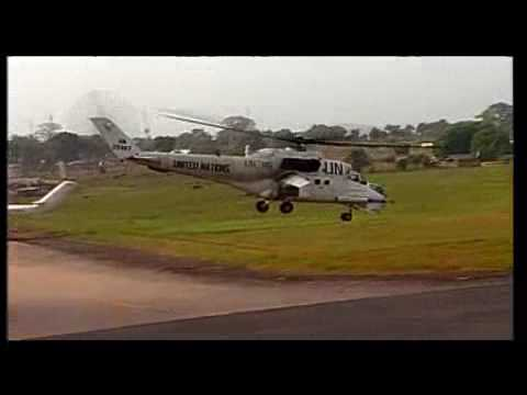 "United Nations (Russian and Ukrainian) Mi-24P ""Hind"" in Sierra Leone."
