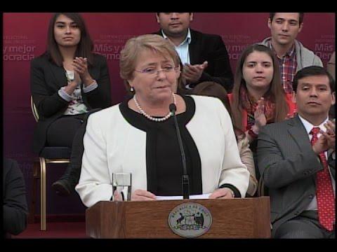Presidenta Bachelet: Hemos dejado atrás la condena del sistema electoral binominal